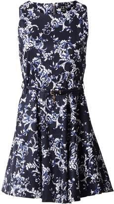 Izabel London Floral Print Belted Skater Dress