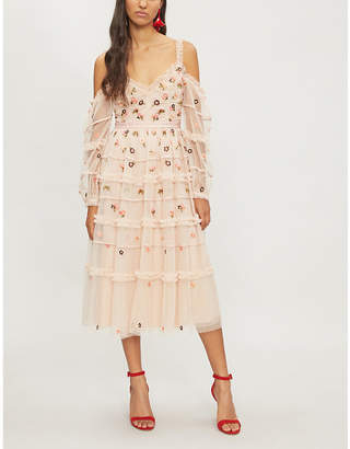 NEEDLE AND THREAD Celeste embroidered-tulle dress