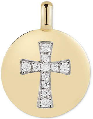 "Swarovski Charmbar Zirconia Cross ""Always have Faith"" Reversible Charm Pendant in 14k Gold-Plated Sterling Silver"