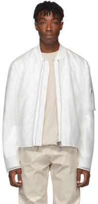Helmut Lang White Sheer Rubber Bomber Jacket