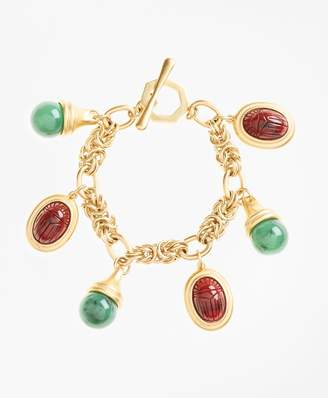 Brooks Brothers Poppy Jasper Scarab Charm Bracelet