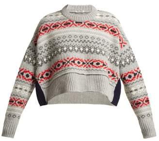 Miu Miu Cropped Fair Isle Wool Sweater - Womens - Grey