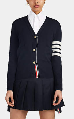 Thom Browne Women's Milano-Stitched Wool V-Neck Cardigan - Navy