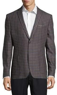 Tallia Orange Checkered Linen Jacket