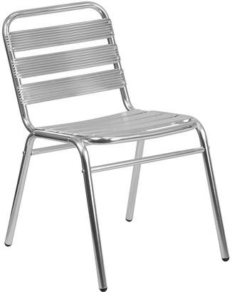Asstd National Brand Aluminum Commercial Indoor-Outdoor Armless Restaurant Stack Chair with Triple Slat Back