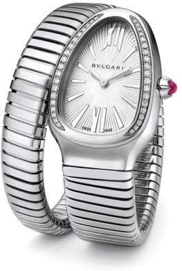 Bvlgari Serpenti Tubogas Stainless Steel& Diamond Single Twist Watch