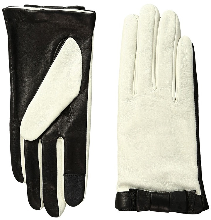 Kate Spade New York - Color Block Bow Short Gloves  Extreme Cold Weather Gloves