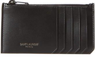 Saint Laurent Black Fragments Zip-Top Grained Leather Card Case