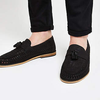 River Island Black leather woven tassel front loafers