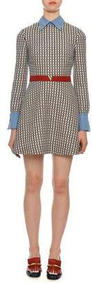 Valentino Long-Sleeve Optical V-Logo Collared Dress