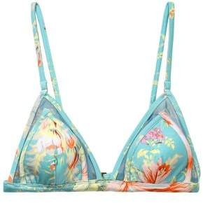 Zimmermann Tulle-trimmed Printed Triangle Bikini Top