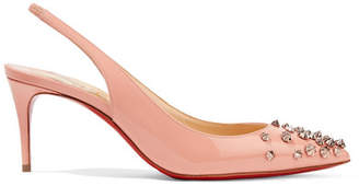 Christian Louboutin Drama 70 Studded Patent-leather Slingback Pumps - Antique rose