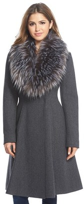 Women's Vera Wang 'Serena' Faux Fur Collar Wool Blend Fit & Flare Coat $498 thestylecure.com