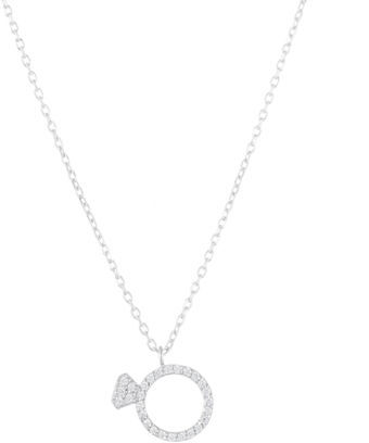 Lord & Taylor Sterling Silver and Cubic Zirconia Ring Pendant Necklace