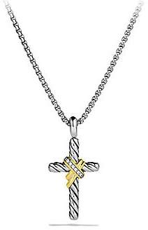 David Yurman Women's X Cross with Diamonds and Gold on Chain