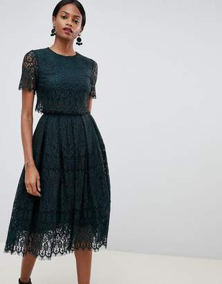 Asos Design DESIGN prom dress in lace with short sleeve