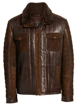 FLYNT Genuine Shearling Trim Leather Bomber Jacket