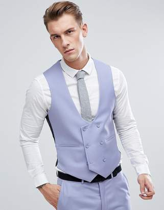 Asos Design Wedding Skinny Suit Waistcoat In Pale Blue 100% Wool