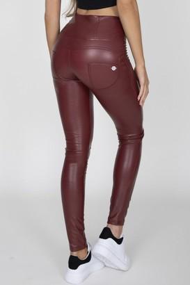 03fdd497b804a8 at Little Mistress · Hugz Jeans Wine High Waist Faux Leather Pants