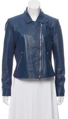 DKNY Leather Zip-Up Jacket