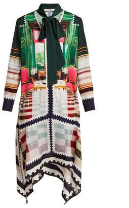 Mary Katrantzou Stamp Print Silk Satin Dress - Womens - Green Multi