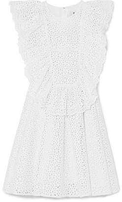 MSGM Ruffled Broderie Anglaise Cotton Mini Dress - White