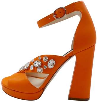 Orange Leather Sandals