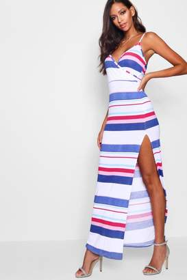 boohoo Multi Stripe Front Maxi Dress