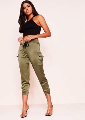 29c8581d8bcbf7 Missy Empire Missyempire Dakota Khaki Satin Feel Cargo Trousers