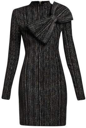Balmain Striped Lurex Cotton Blend Mini Dress - Womens - Black Silver