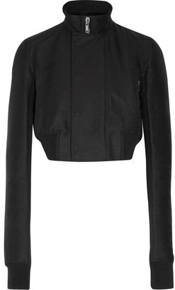 Rick Owens - Cropped Wool-trimmed Faille Biker Jacket - Black $1,325 thestylecure.com