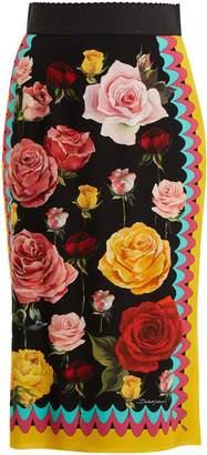 Dolce & Gabbana Rose-print stretch silk-blend skirt