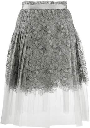 Ermanno Scervino pleated lace midi skirt