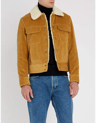 Sandro Padded corduroy and fleece jacket
