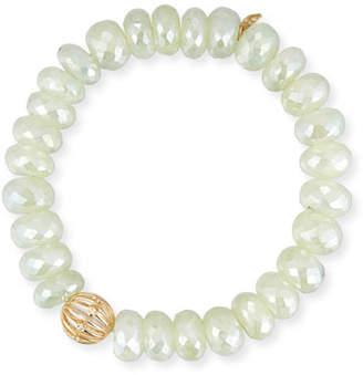 Sydney Evan Prehnite Bead Bracelet w/ 14k Diamond Wire Charm