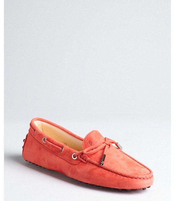 Tod's poppy leather pebbled sole moccasin loafers