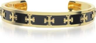 Tory Burch Tory Gold Brass and Enamel Raised Logo Bangle