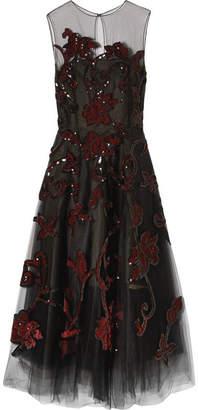 Oscar de la Renta Embellished Tulle Gown - Black
