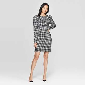 Who What Wear Women's Plaid Puff Shoulder Long Sleeve Boat Neck A Line Mini Dress - Who What WearTM Black/White