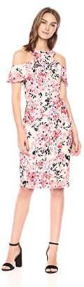 Rachel Roy Women's Off The Shoulder Printed Lace Ruffle Midi Dress
