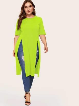 Shein Plus Neon Green Split Longline Tee