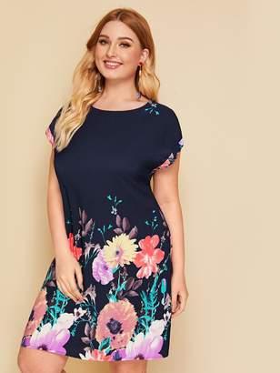 Shein Plus Floral Print Trapeze Dress