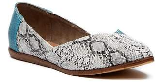 Toms Jutti Turquoise Snake Print Leather Flat