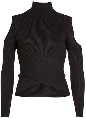 Knitss Turtleneck Pullover with Cold-Shoulders