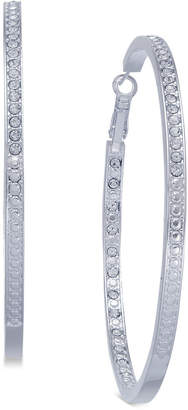 Essentials Extra Large Silver Plated Crystal In and Out Hoop Earrings