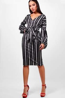 boohoo Gathered Sleeve Stripe Midi Dress