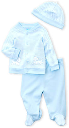 Little Me Newborn Boys) 3-Piece Puppy Cardigan, Footie Pants & Cap Set