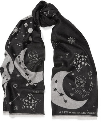 Alexander McQueen - Wool-jacquard Scarf - Black $230 thestylecure.com