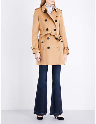 Burberry Ladies Camel Checkeded Classic Kensington Wool And Cashmere-Blend Coat