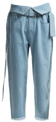 Marques Almeida Marques'almeida - Belt Waisted Denim Trousers - Womens - Light Blue